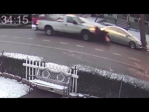 Video: Plow truck hit  cars and takes off in Cleveland