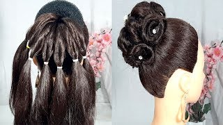 New wedding Bun hairstyle with trick | Easy & Beauitful bun hairstyles | Party & wedding hairstyles
