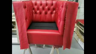 CUSTOM ROYALTY FURNITURE TUFTED RED SOFA AND CHAIRS