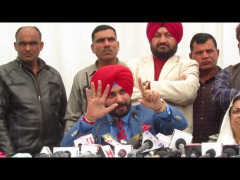 Congress leader Navjot Singh Sidhu addressing the media in Chandigarh