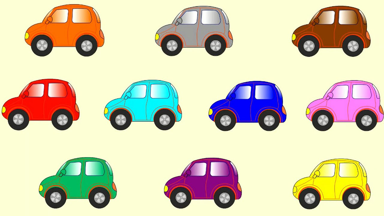 Learn Color Cartoons For Children: Coloured Cars