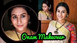 Advance Onam Makeup Tutorial 🥰||Traditional saree Look ||Malayali Makeover