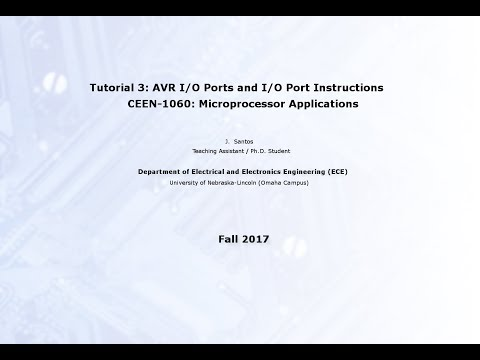 Lecture 3: Introduction to AVR I/O Ports and I/O Instructions