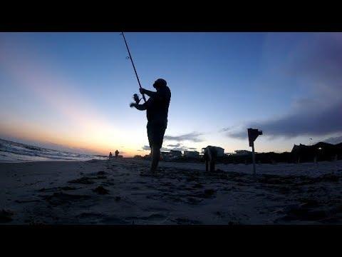 Sunset Surf Fishing At Holden Beach