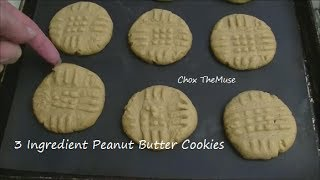 Gluten Free 3 Ingredient Peanut Butter Cookies!  No Flour! Easy!
