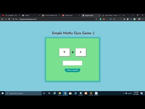 Maths Quiz Game Using JavaScript With Source Code 2019 🔥