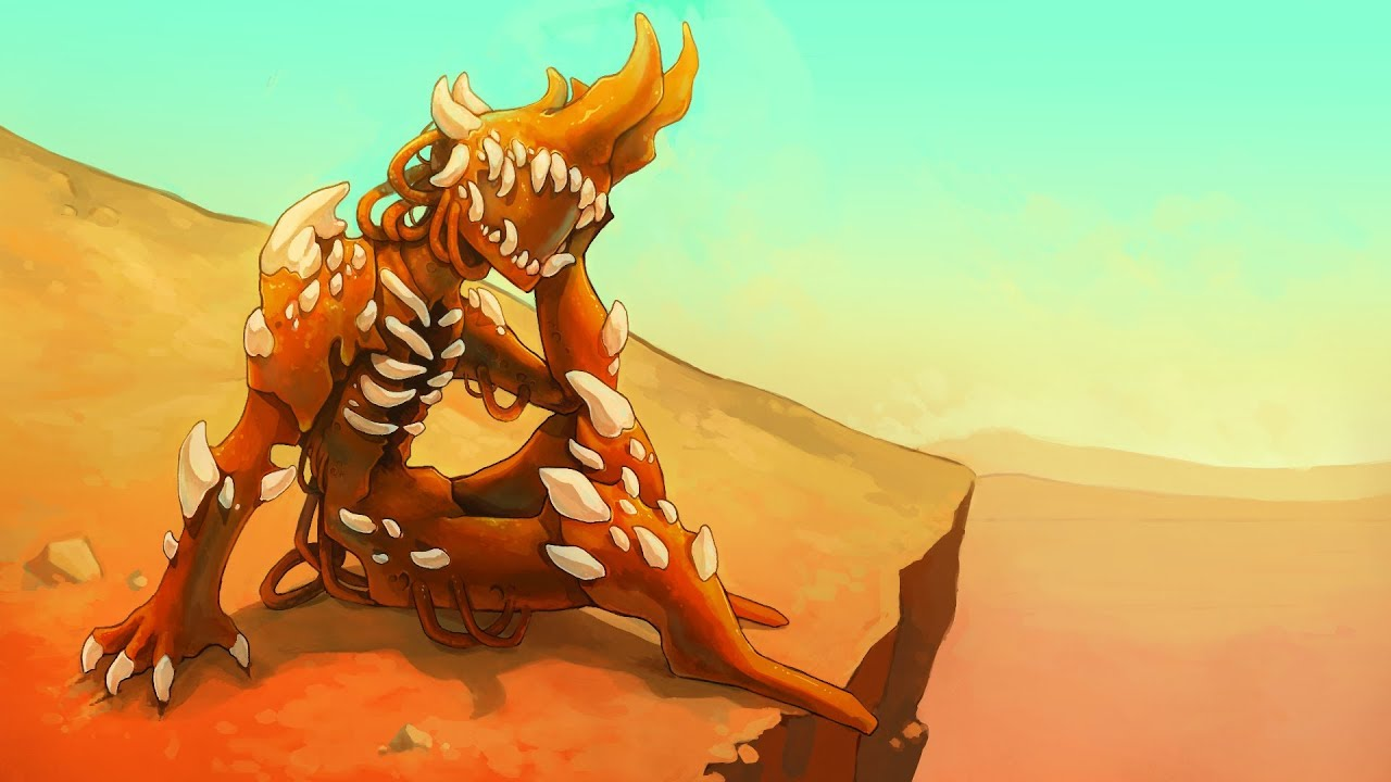 A robot made of meat and bones reclining on a cliff.