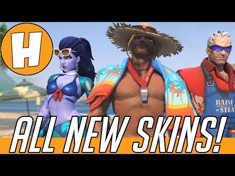 ALL NEW Overwatch Summer Games Skins, Highlight Intros and Voice Lines! | Hammeh