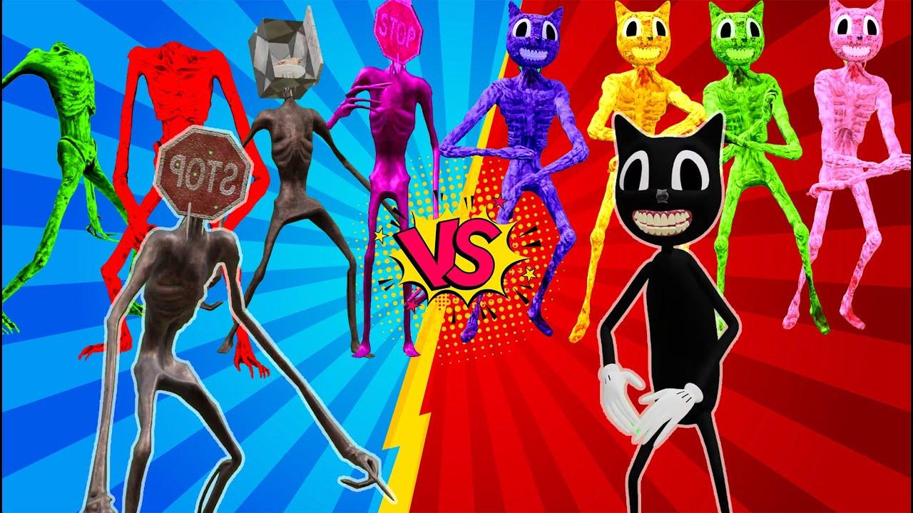 Team Siren Head vs Refridgerator Head vs Stop Head  vs Level Up Boss Cartoon Cat Coffin Meme Dance