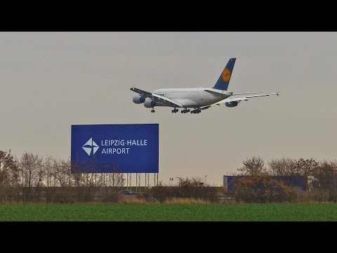 Lufthansa A380 Training Flights at Leipzig/Halle Airport (Germany)