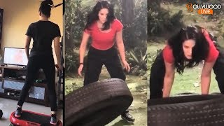 vuclip Sexy Sunny Leone INTENSE Workout With Tire - Bollywood Live