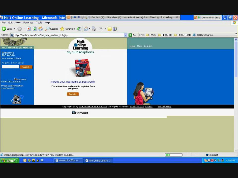 Online Tutorial: Creating STUDENT account for Holt Math Online ...