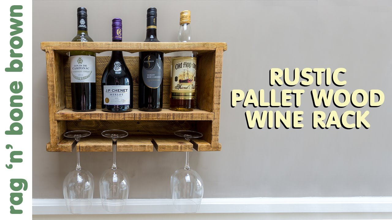 Making a rustic pallet wood wine rack youtube for How to make a wine rack out of pallet wood