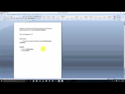 How to stop printing Document properties when printing any office doc.