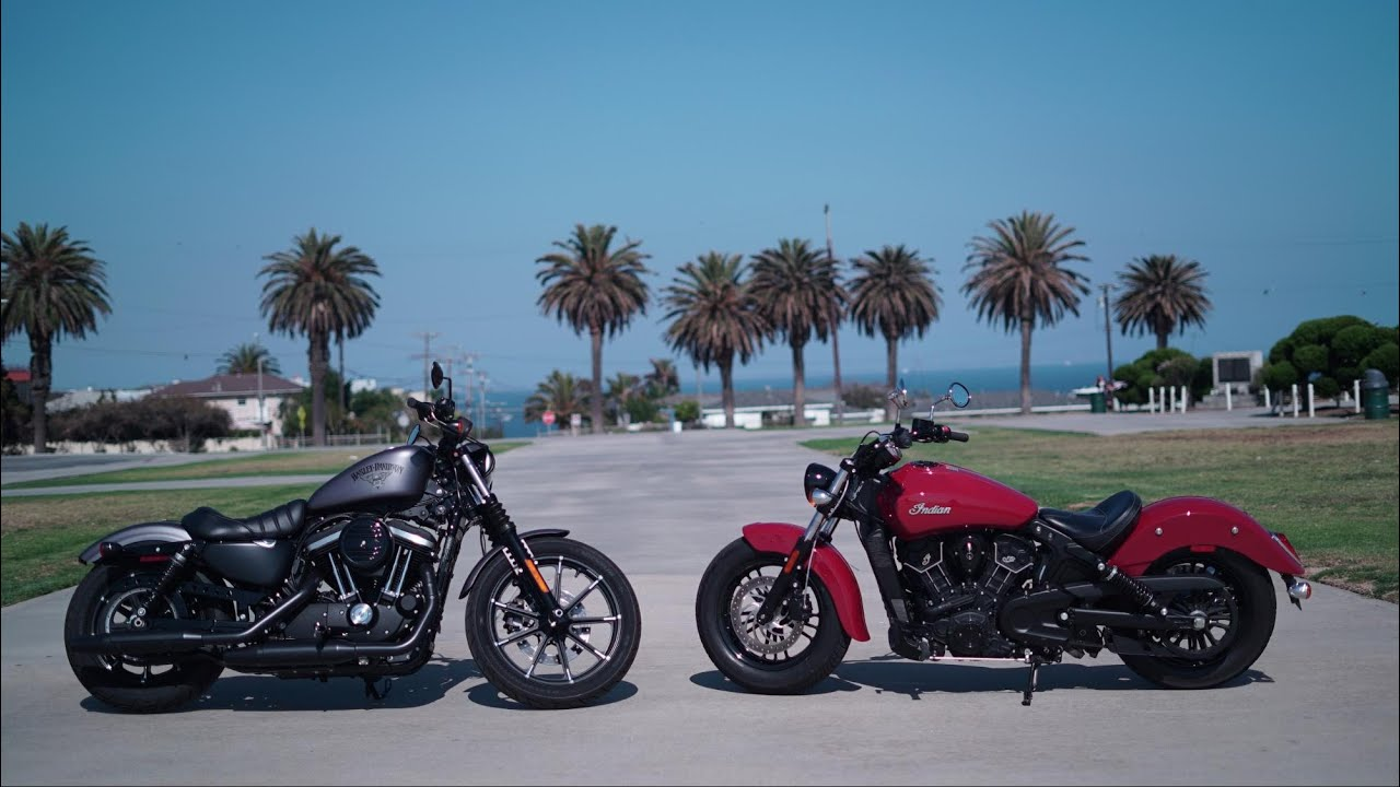 The great american 9k cruise off h d iron 883 vs indian scout sixty youtube