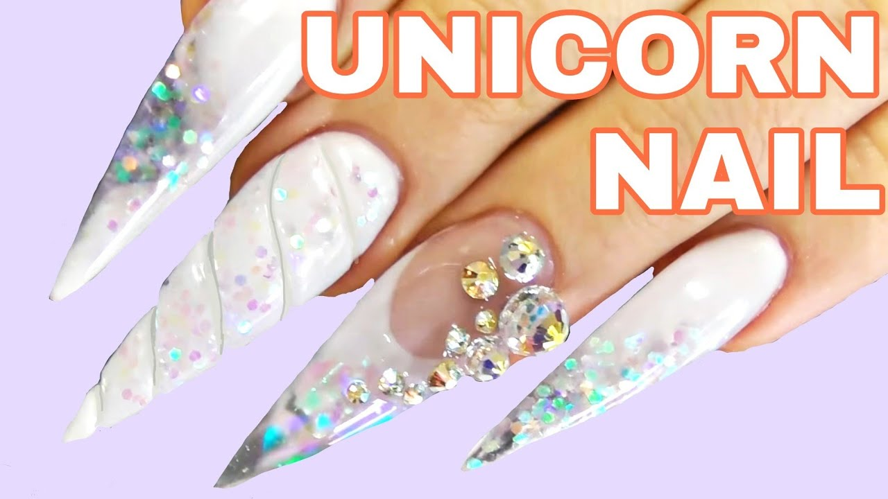 Unicorn Horn Nail by Black Swan Beauty - YouTube