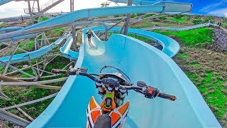 ELECTRIC DIRT BIKE AND BMX RIDING INTO ABANDONED WATERPARK
