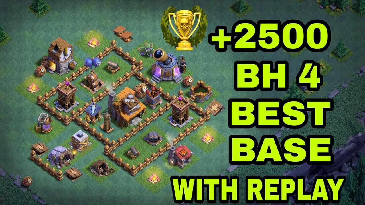 Builder hall 4 bh4 best base with replay bh4 best Best builder house 4 base