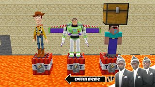 Who to Save Woody or Buzz or Noob in Minecraft - Coffin Meme