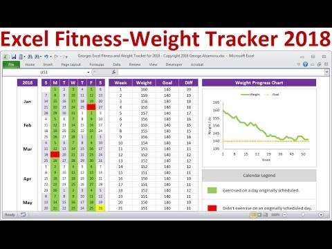 Excel Fitness Tracker And Weight Loss Tracker For 2018 - Exercise