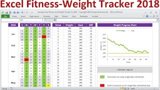 Excel Fitness Tracker and Weight Loss Tracker for 2018 - Exercise Planner Weight Tracker Spreadsheet