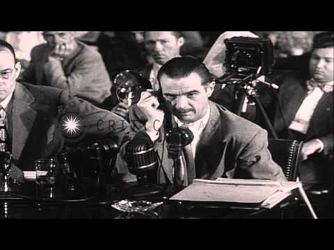 Howard Robard Hughes is questioned during the investigation of 40 million in war ...HD Stock Footage