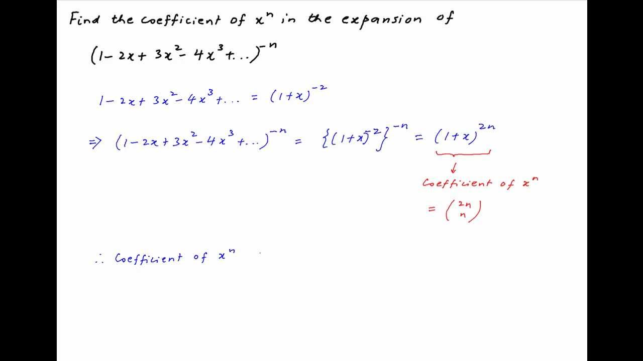 Find The Coefficient Of X Raised To Power N In Expansion Of The Following  Expression