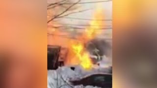 Raw: NJ Garbage Truck Catches Fire, Explodes