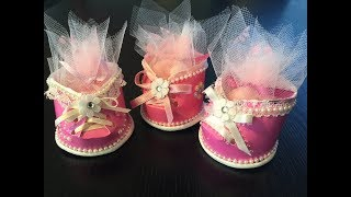 BABY SHOWER GIFTS FOR GUESTS - booties made from paper cups!