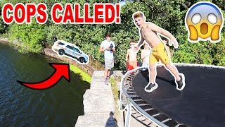 TRAMPOLINE FLIPS OFF A CLIFF! (COPS CALLED)