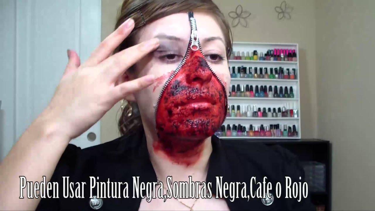 Maquillaje con cierre en la cara para halloween herida en - Pinturas para halloween ...