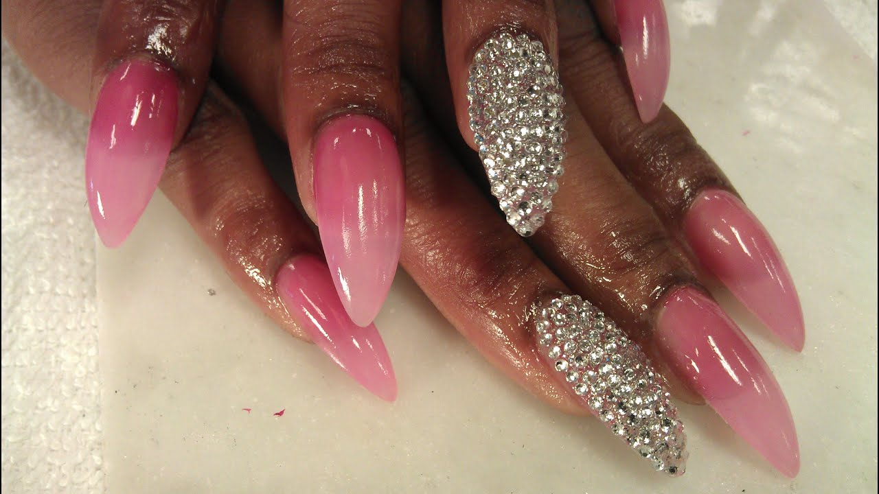 HOW TO DO ACRYLIC STILETTO NAILS 2 of 3 - YouTube