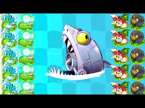 Plants vs Zombies 2 Sharktronic Zomboss vs OP Plants Power Up Challenge in Primal Gameplay PVZ 2