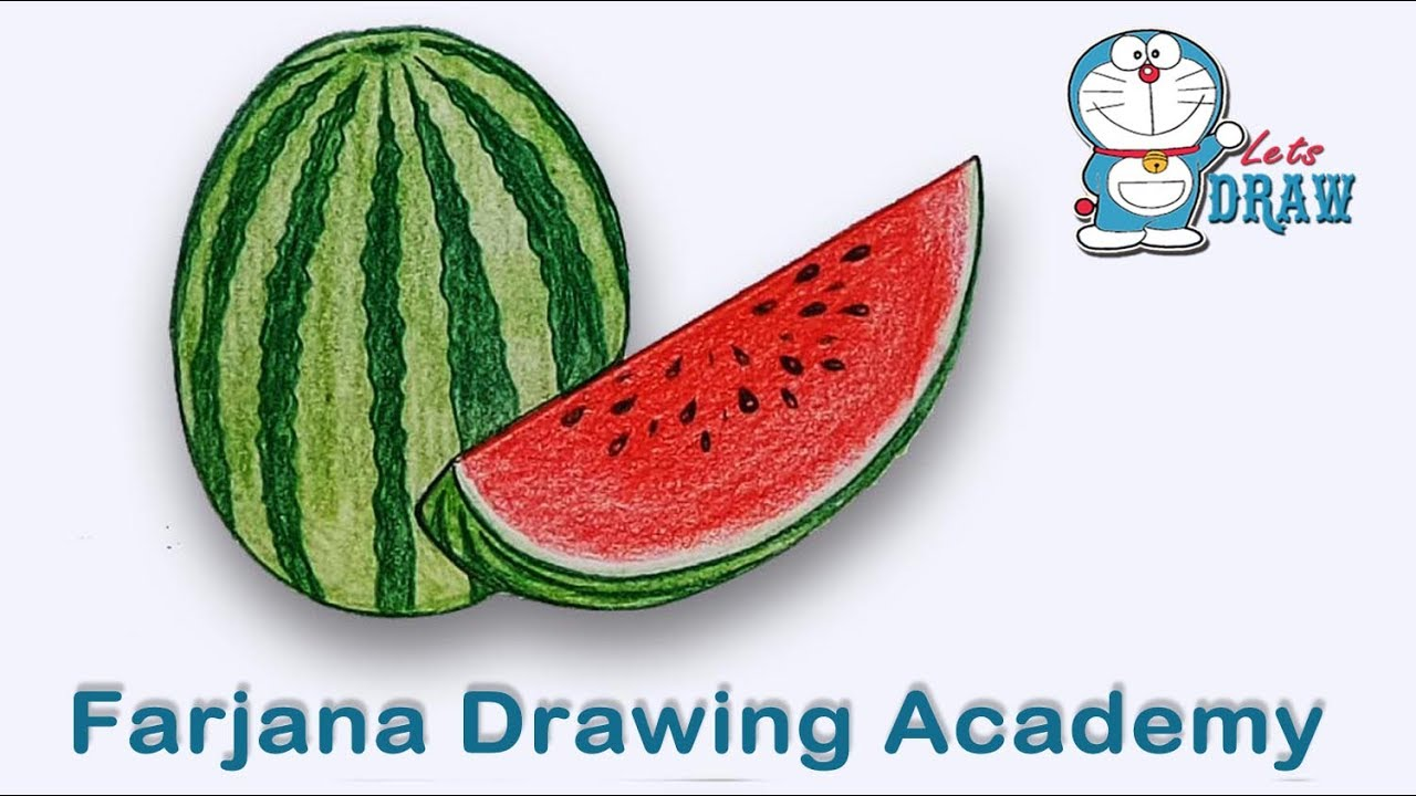 How to draw watermelon step by step very easy
