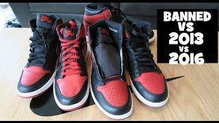 2016 VS 2013 Air Jordan 1 VS Banned Retro Sneaker Comparison Review