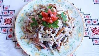 Салат с фасолью и сухариками рецепт салата с ветчиной Салат з квасолі і сухаріків рецепти салатів
