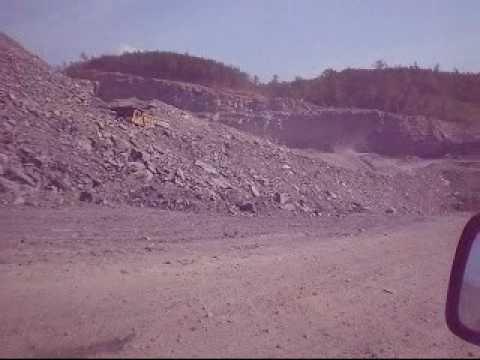 Inside tremendous open pit coal mine near Shady Grove, Alabama.  Strip mining in southern Appalachia