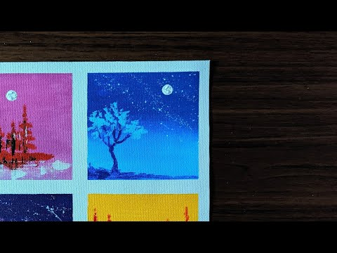Abstract Tiny Acrylic Painting / Set of 4 Moonlight landscape / Easy & Relaxation / Art therapy
