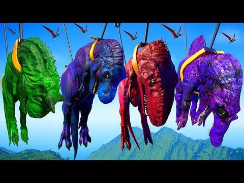 T-Rex Vs Spinosaurus Vs Giganotosaurus Vs Carnotaurus - Jurassic World Evolution Dinosaurs Fighting