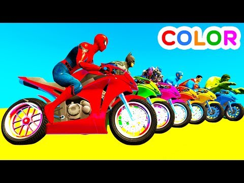 Thumbnail: LEARN COLOR Motorcycles w Spiderman for kids and Superheroes cartoon for babies