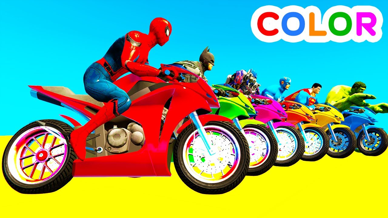 Learn color motorcycles w spiderman for kids and - Spider man moto ...