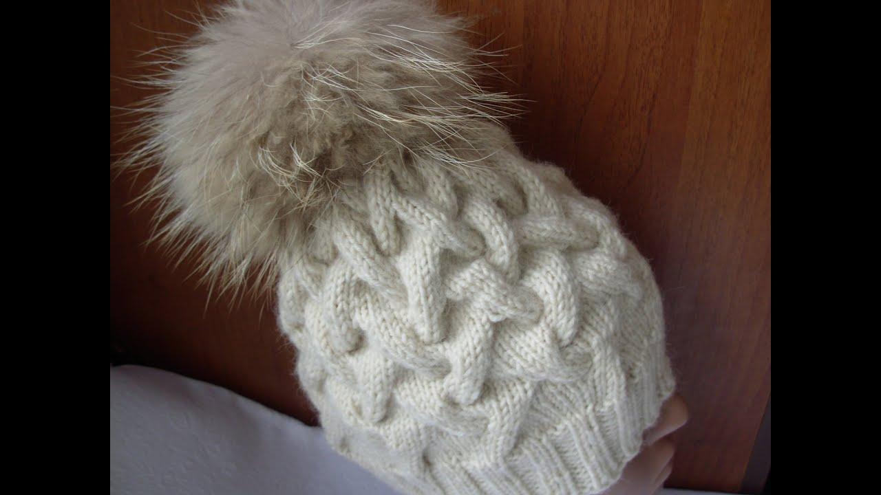 вязание шапки спицами узором коса с тенью 12 петель Youtube