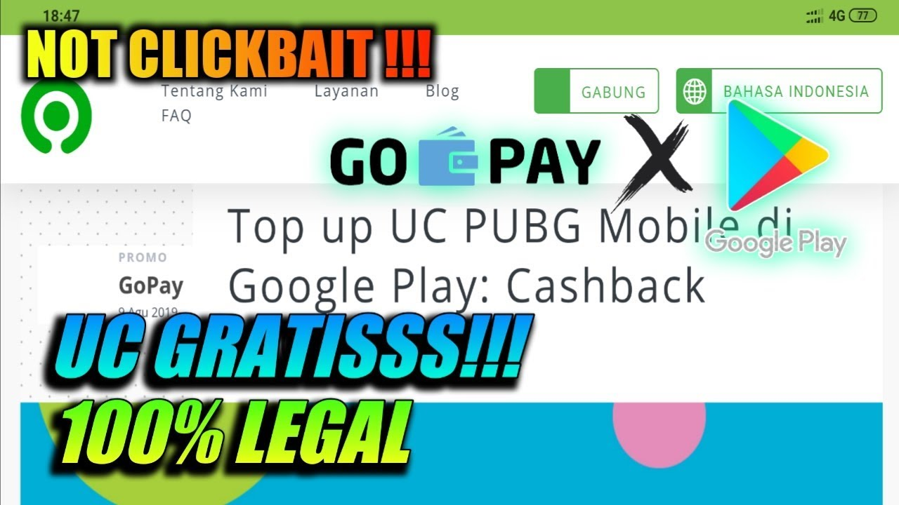 Promo Uc Pubg Mobile Gratis Cashback 100 Dari Gopay Dan Google Play Youtube