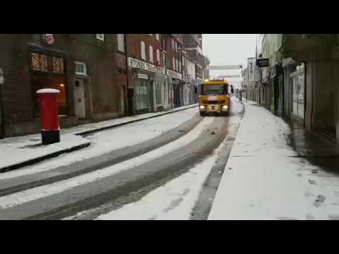 Gritter lorry spreading salt on New Canal in Salisbury opn March 18th 2018