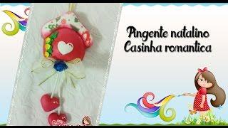 Pingente natalino Casinha romântica