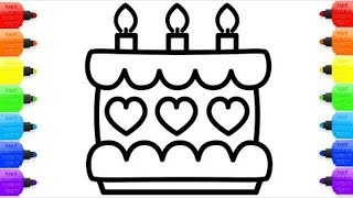 Cake with Hearts Coloring Pages and Drawing for Children