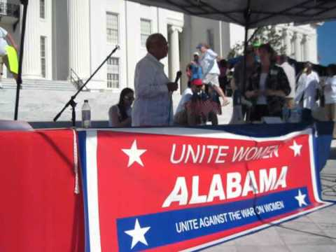 Doris Crenshaw speaks at the Alabama UAWOW War On Women Rally in Montgomery 4-28-12