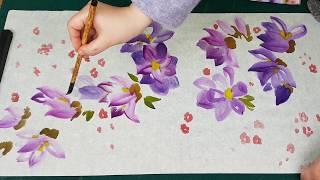 Как нарисовать Магнолию видео урок How to draw Magnolia painting tutorial 목련 그림 그리기