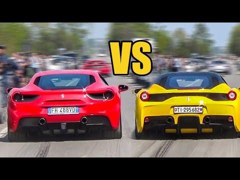 Ferrari 488 GTB Vs Ferrari 458 Speciale - SOUND BATTLE!