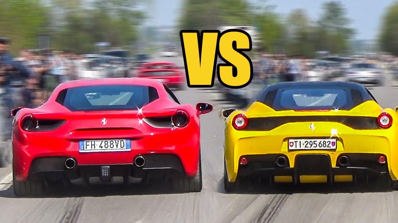 ferrari 488 gtb vs ferrari 458 speciale - sound battle! - youtube